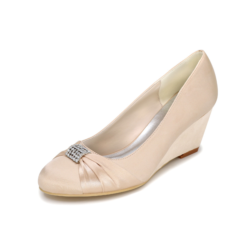 b59e71b59ba8 Creativesugar Elegant lady s wedges satin evening dress wedding party prom  shoes purple silver grey white ivory chapagne blue