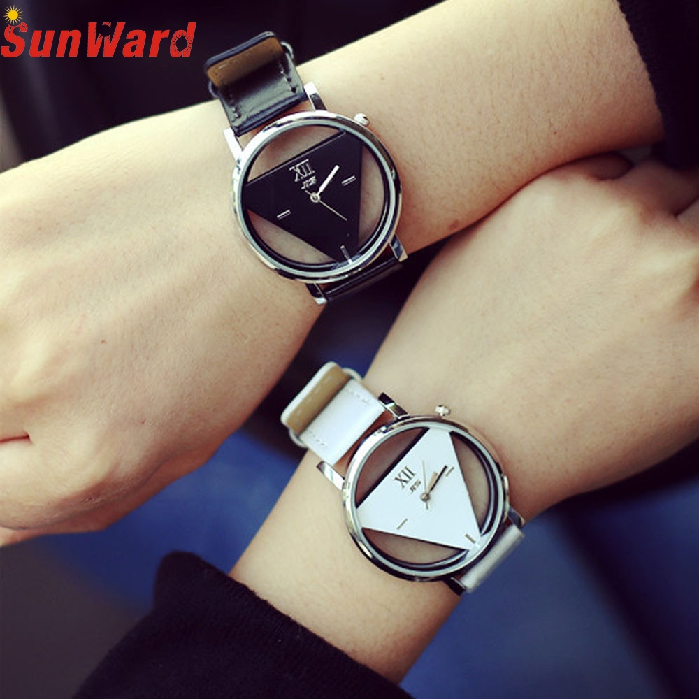 Miracle Moment 2017 New Fashion Unique Hollowed-out Triangular Dial Fashion Watch Relogio Feminino Clock Levete Dropshipping miracle moment fashion stylelish mens womens unique hollowed out triangular dial black fashion watch ag3