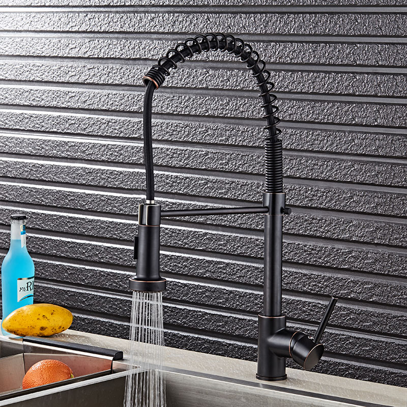 Pull Down Sprayer Black Brass Water Kitchen Faucet Swivel Vessel Sink Mixer Tap Cozinha ORB Kitchen Sink Faucet Free Shipping golden brass kitchen faucet dual handles vessel sink mixer tap swivel spout w pure water tap