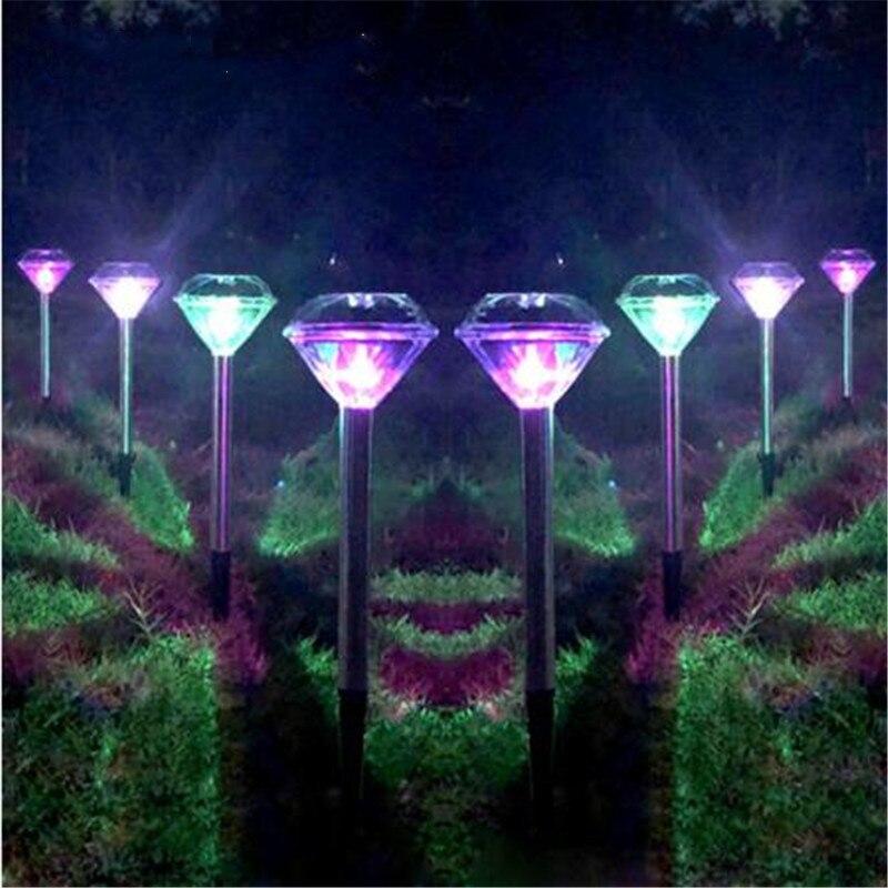 LED Solar Light  Stainless Steel For Garden Decoration Diamond Stake Lights Outdoor Lawn Solar Powered  LED Solar Lamp Lantern