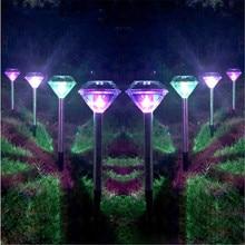 купить LED Solar Light  Stainless Steel For Garden Decoration Diamond Stake Lights Outdoor Lawn Solar Powered  LED Solar Lamp Lantern по цене 228.35 рублей