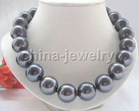 Wholesale priceBeautiful 18 18mm peacock black perfect south sea shell pearl necklace GP cla BB1025