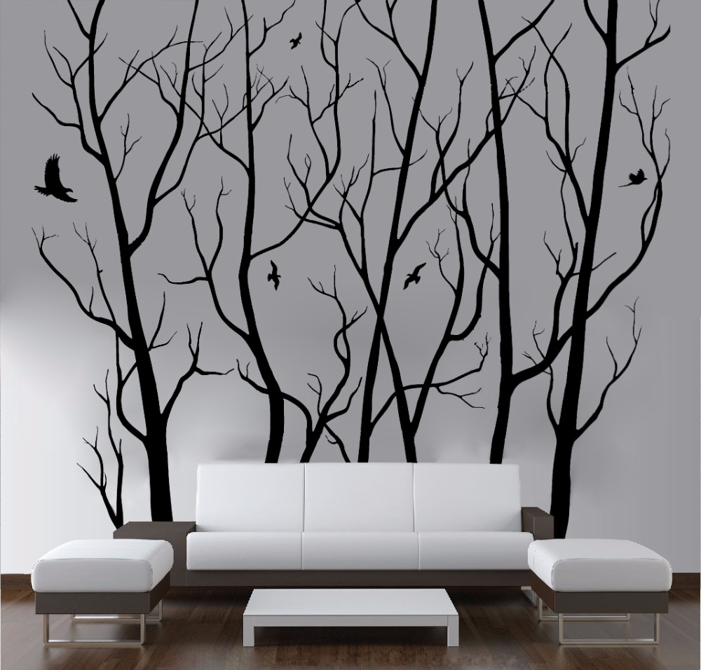 D446 large wall art decor vinyl tree forest decal sticker for Big wall decor