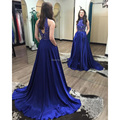 2016 Modest azul Royal Prom vestidos frisada alta Long Neck Prom Dress Robe De Soiree 2016 personalizado Chiffon Evening vestidos De festa