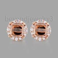 18k Rose Gold Stud Earrings Semi Mount Setting Diamond Earrings For Women Fine Jewelry