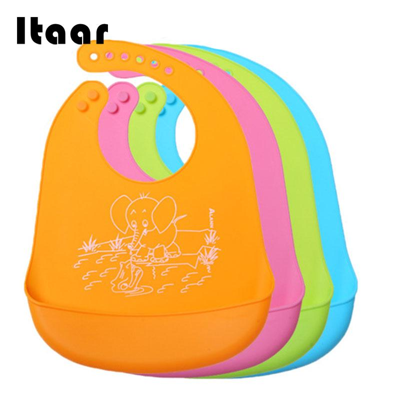 Baby Kids Silicone Stereo Bib Adjustable Waterproof Bibs Pick Rice Pocket