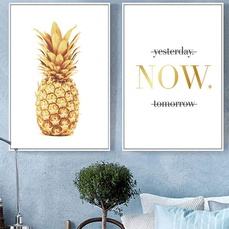 Nordic Art Pineapple Motivational Canvas Art Poster Modern Home Wall Decoration