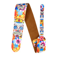 2019 New Personalized Electric Guitar Electric Bass Strap Full PU Printed Skull Color Shoulder Strap