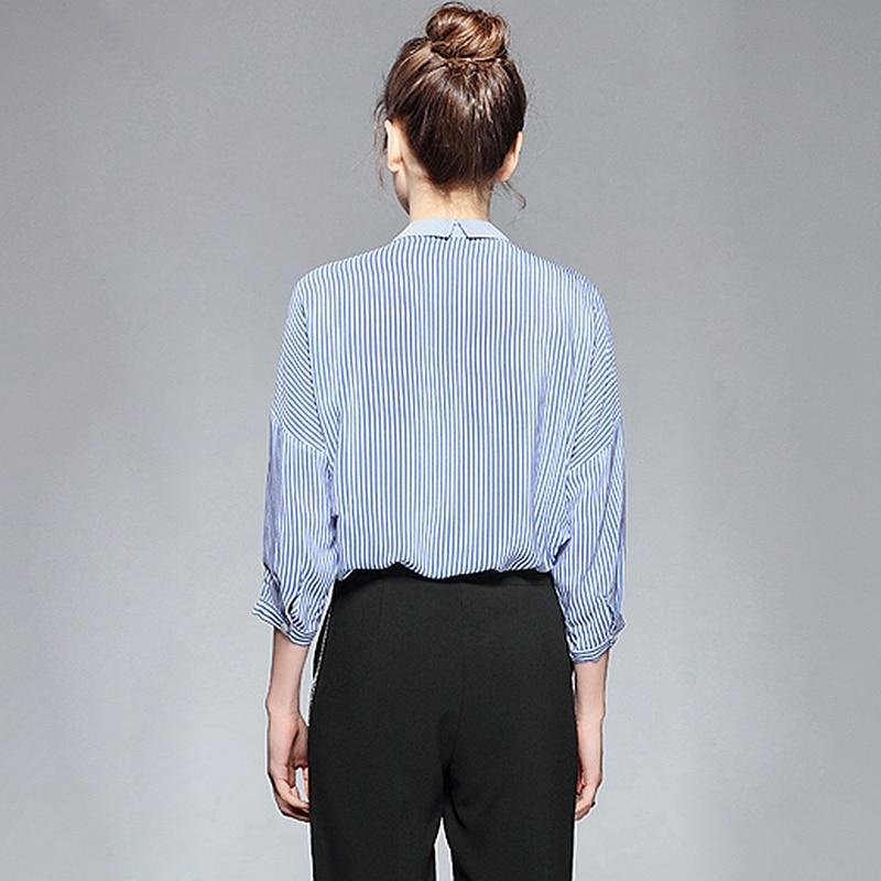 Blouse De Nouvelle T Rayé 2019 Femmes Baisse Manches Trois shirt 100Soie Top Décontracté Lâche Conception Mode Multi quarts épaule Style IbfyvmY67g