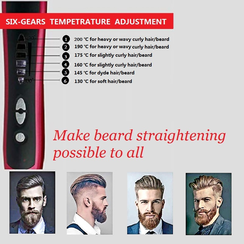 Beard Straightener Portable Men Fast Beard Comb And Ceramic Heating  Comb For Man 4