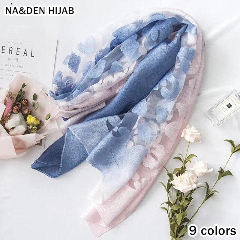 2019 new scarf ombre color shawl gauzes flowers scarves shawls cut flower soft muslim hijab foulard