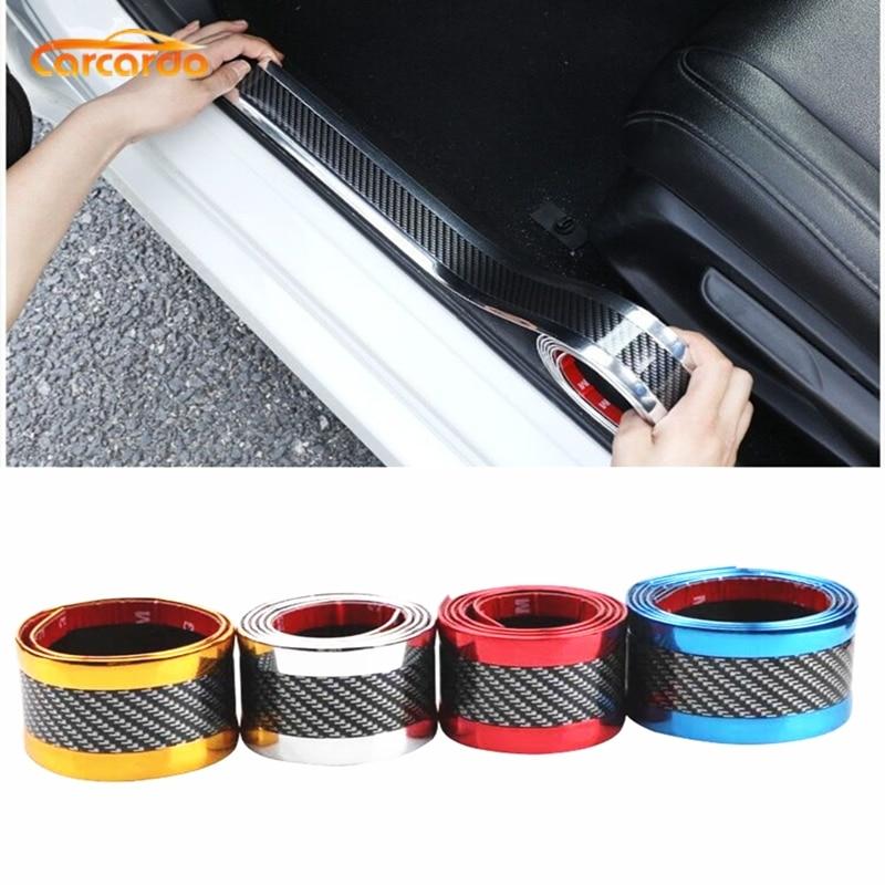 Carcardo 3D Carbon Fiber Protector Car Bumper Strip Door Sill Protector Strip Sticker 3D Carbon Fiber Soft Rubber Sticker