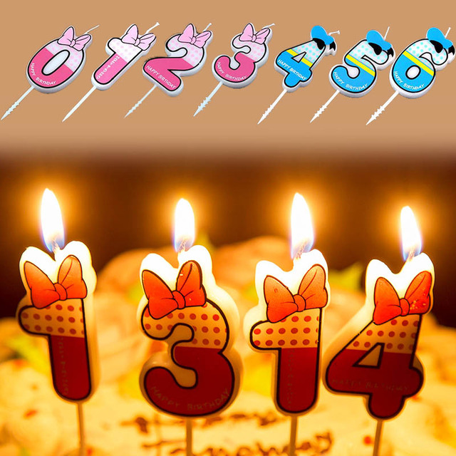 Popular 1PC 0 9 Numbers Blue Pink Bowknot Happy Birthday Candles Funny Cake Supplies Kids Age Glims Anniversary Party Decoration
