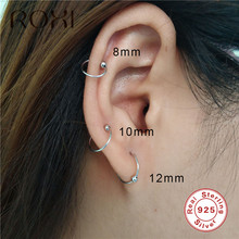 ROXI Simple Round Hoop Earrings for Women Minimalist Beads Clip On Earrings 2019 Fashion Jewelry 925 Sterling Silver Earrings 925 sterling silver tree branch pearl hoop earrings minimalist design fashion earrings for women personalit charms jewelry gift