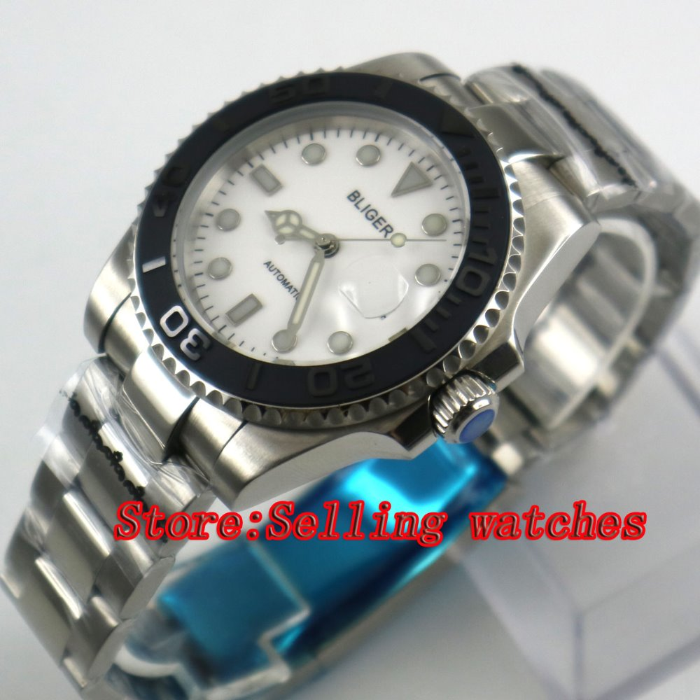 2017 Newest Hot top 40mm Bliger white Dial Sapphire Glass Date Window Automatic Movement Men's Mechanical Wristwatches