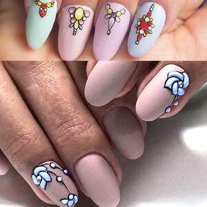 Image 5 - 1 feuille 3d Nail Art autocollant adhésif autocollants outil bricolage ongle décoration outil en relief fleur autocollant
