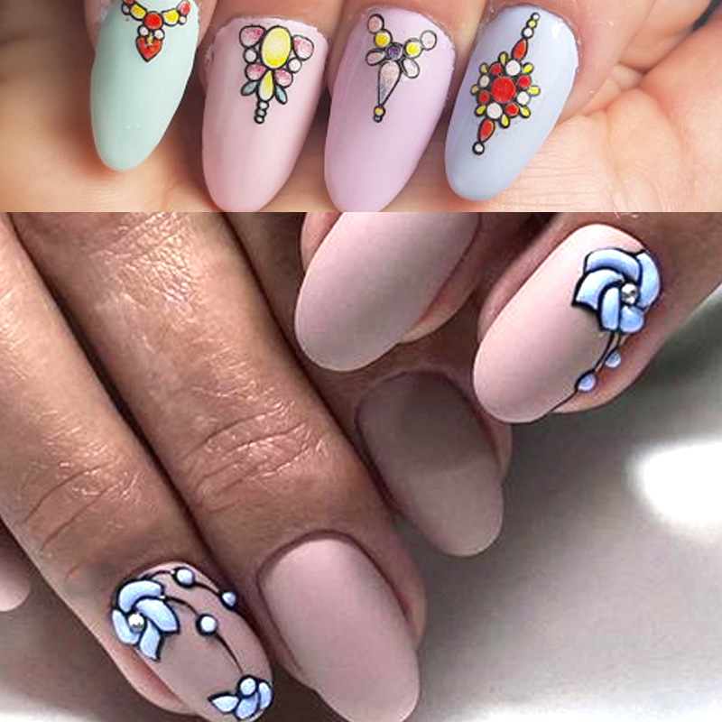 Image 5 - 1 sheet 3d Nail Art Sticker Adhesive Sticker Decals Tool DIY Nail Decoration Tool Embossed Flower Sticker-in Stickers & Decals from Beauty & Health