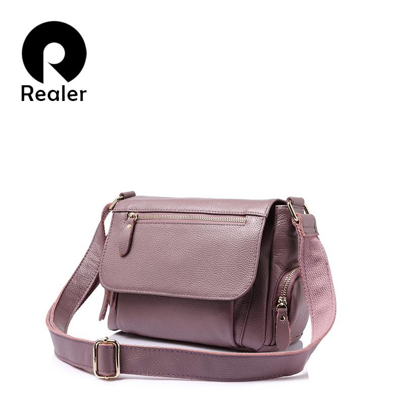 REALER brand fashion women genuine leather shoulder bag female luxury handbags women high quality messenger bags designer 2017