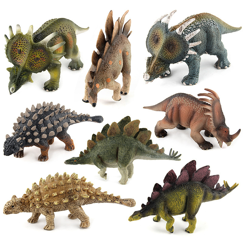 Direct Selling Classic Dinosaur Model Kids Toys For Children Saichania Stegosaurus Triceratops Animal Figures Juguetes Anime jurassic park t rex triceratops toy