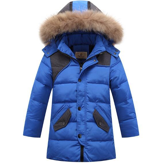 New Arrival Boys Winter Jackets Fur Hooded Collar Teenage Boys Winter Coats Children Duck Down Jackets Kids Outerwear for 6-13T