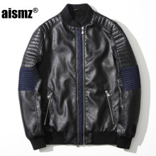 Aismz Slim Leather Jacket Men Design Motorcycle Rivet Male Leather Jacket jaqueta de couro masculina casual Coats 3XL 8805