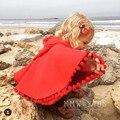 Moda Invierno Primavera Niños Niñas Cape Rojo de Algodón A Cuadros Con Capucha Chicas Ropa de Abrigo Chaquetas Del Bebé Del Cabo Capas 80944