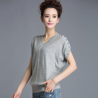 Woman Summer Plus Size Solid Short Batwing Sleeve V Neck Button Knitted 70 Silk Tops Female