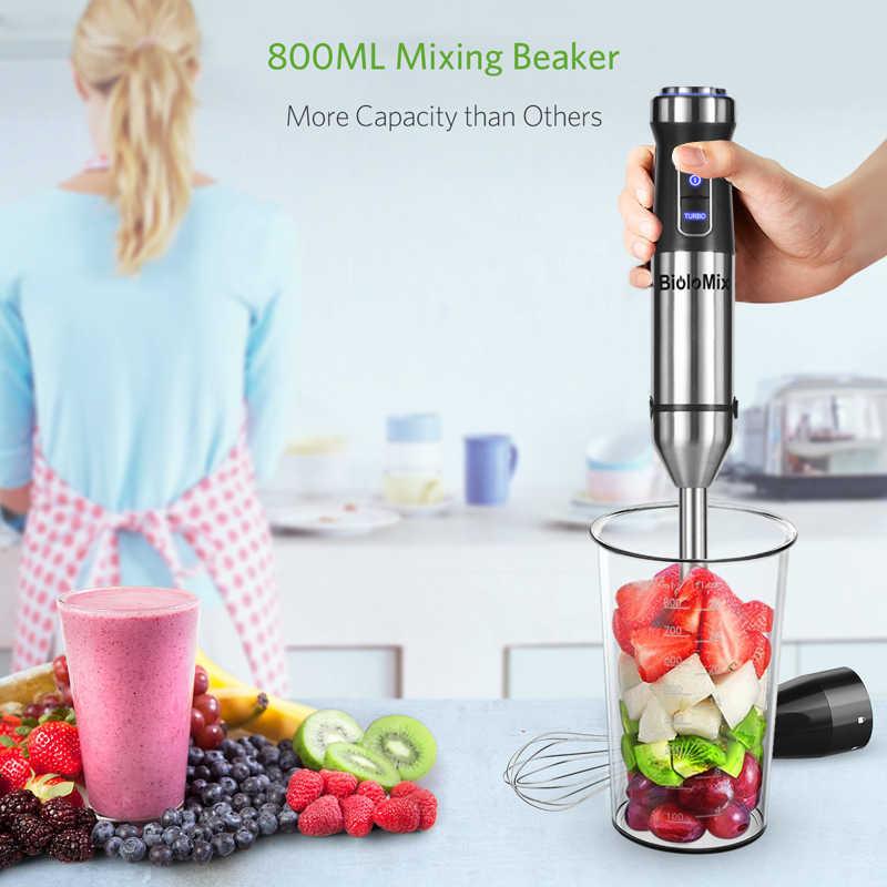 Biolomix 4 em Imersão 1 1100W Alta Velocidade Mão Vara Blender Juicer Mixer Cozinha Destacável Ovo Batedor