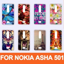 Высокое качество горячая модель DIY мобильный телефон защитный футляр Обложка кожа Shell для Nokia Asha 501 bcak Обложка