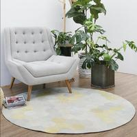 Round shaped natural real cowhide patchwork rug genuine cows skin fur carpet for living room decoration coffee table mat