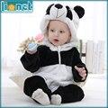 0-24 Mes de la Panda 3D Animal Lindo Niños ropa de Dormir de Franela Suave de Los Niños de Una sola pieza Footed Pijamas Bebé niños Niñas Ropa de Dormir