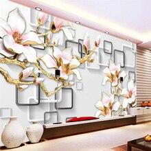 beibehang Wallpaper Mural Wall Sticker HD Relief Magnolia 3D TV