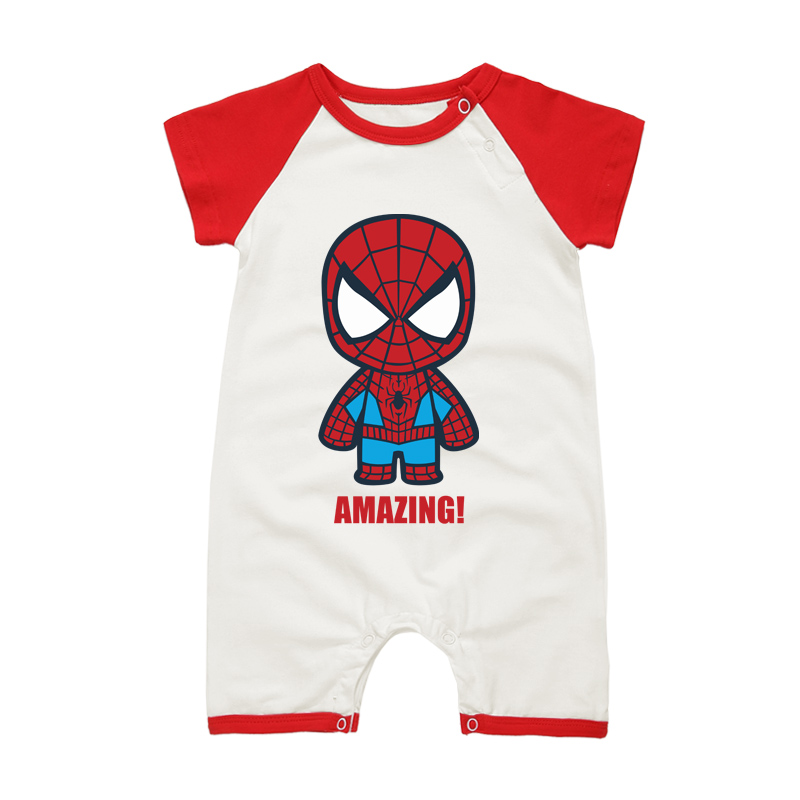Newborn Baby Clothing Set Infant Boys Girls Short Sleeve Jumpsuits Super Hero Cartoon Cotton Summer Romper Outfits