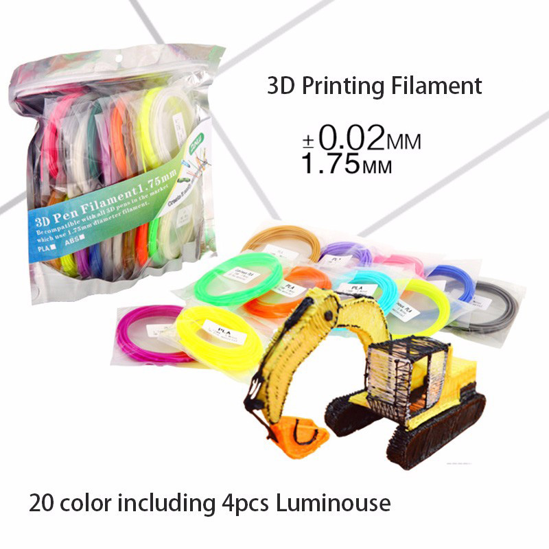 PLA SUNLU 3D Pen printing Filament 20 Colours including 4 luminous Light 3D Printer Filaments Consumables
