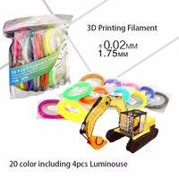 SUNLU PLA Żarnik 3D Pióro drukowania 20 Kolory w tym 4 świecenia Światła Materiałów Eksploatacyjnych Drukarki 3D, 1.75mm PLA
