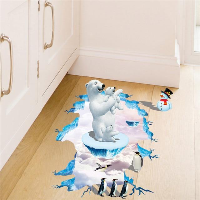 D orso polare pinguino adesivi murali creativo simpatico cartone