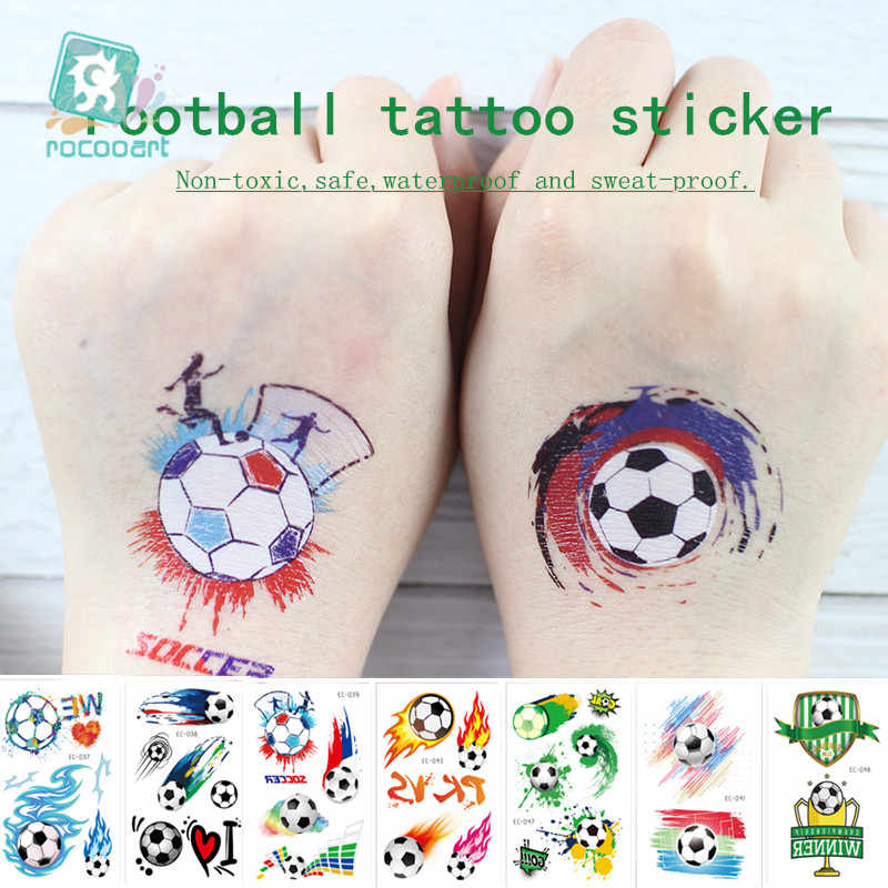 Rocooart Football Fans Tattoo Stickers Soccer Game Fake Taty Body Art Waterproof Temporary Tattoo For Football Cup Match Party