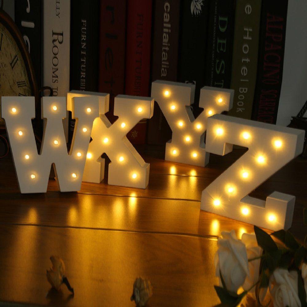 15 CM Büyük Ahşap Mektup LED Kayan Burcu Alfabe Işık Kapalı - Şenlikli Aydınlatma - Fotoğraf 4
