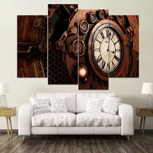 Retro Steampunk Clock Paintiing One Set 4 Piece Modular Style Picture Modern Canvas Print Type Home Decor Wall Artwork Poster