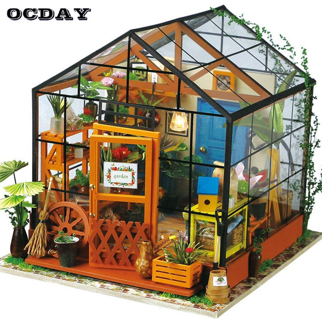 Aliexpresscom Buy Ocday Diy Assemble Dollhouse Puzzle 3d Wooden House Kids Wooden Toys Chalets Building Educational Toys For Children Xmas Gifts