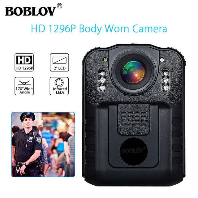 BOBLOV WN9 Wearable Body Worn Camera Novatek 96650 HD 1296P Police Cam 170 Degree 2 Inch Screen Security Police Camera