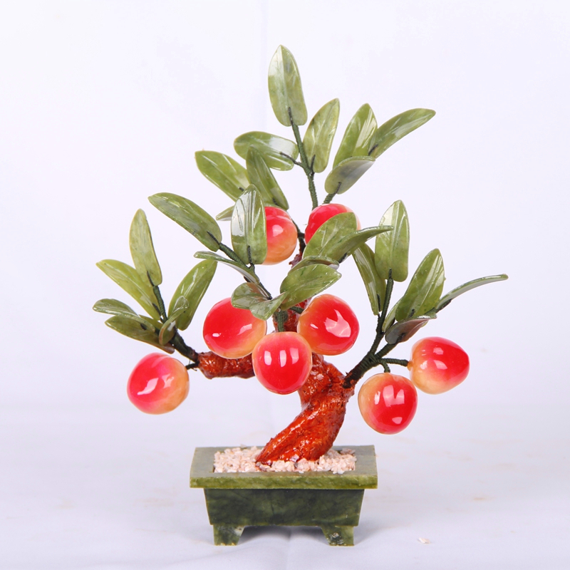 8 natural jade Topaz jade jade crafts peach bonsai birthday gift ornaments tianyu jade