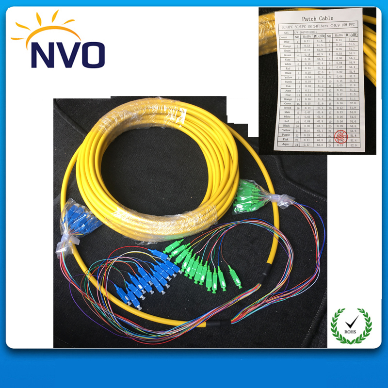 SM,24core,G652D,50cm from Cable to Connector,Length:10M,PVC Jacket,SC/APC-SC/UPC Bundled Distribution Fiber Optic Patch Cord
