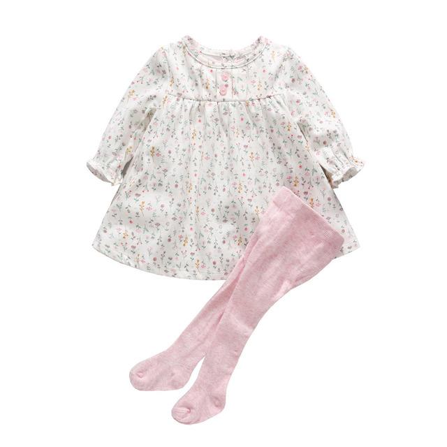2017 conjuntos de roupas de bebê menina 0-12 m primavera outono vestidos da menina do bebê floral one piece vestidos bebe bebê calças calças legging