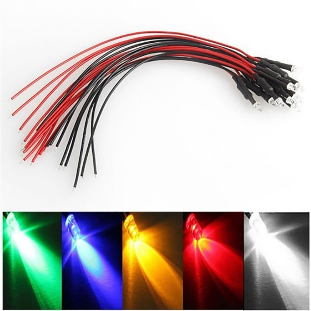 12V Pre-Wired LED Emitting Diode Diffused 3//5mm Light 20cm Wire 0.5W