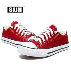 SJJH Для женщин Холст кроссовки для влюбленных удобная обувь вулканизируют Туфли без каблуков Повседневное человек Chaussure на шнуровке Обувь