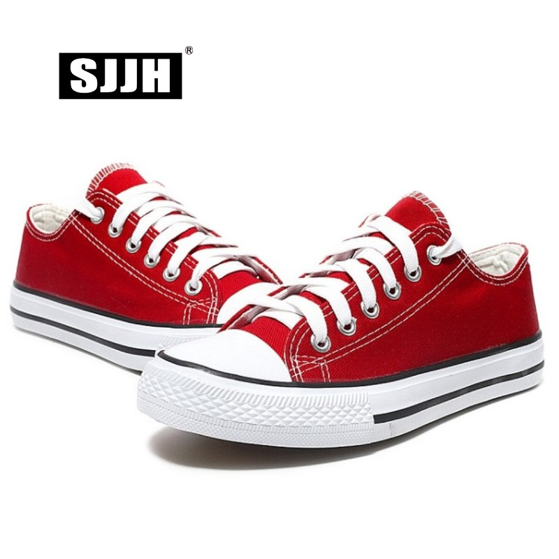 SJJH Women Canvas Sneakers Lovers Comfortable Shoes Vulcanize Flats Casual Man Chaussure Lace-up Ladies Trainers Footwear D002