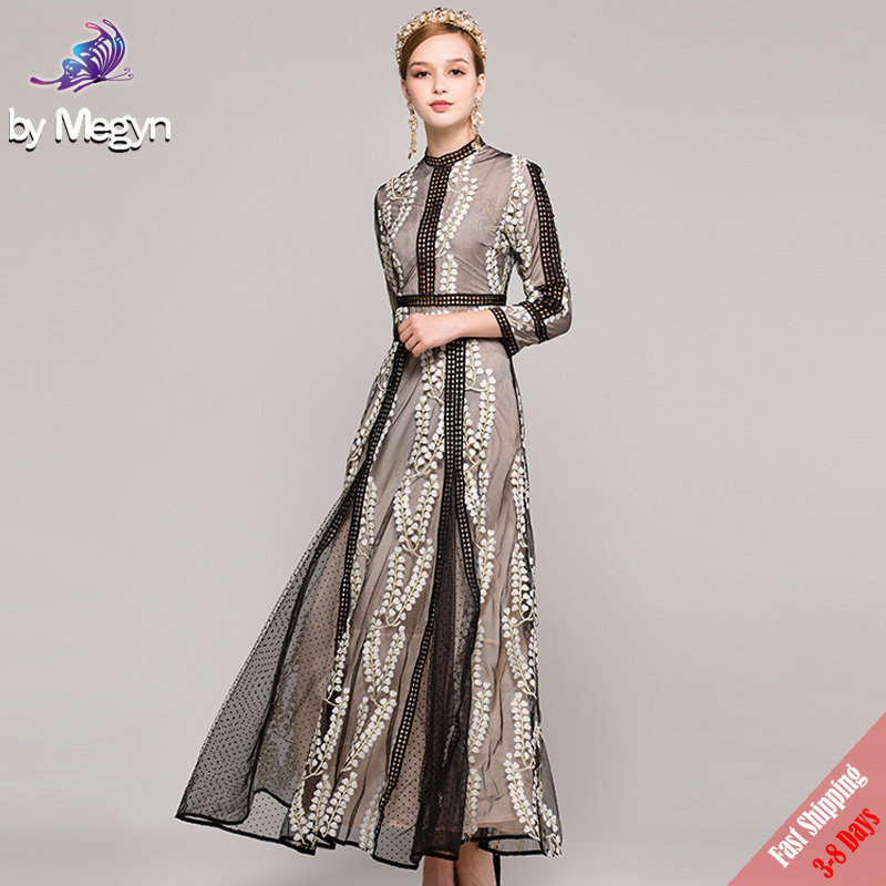 High Quality 2017 New Autumn Fashion Party Long Dress Womens Black Mesh Vintage Leaves Embroidered Runway Maxi Dress Free DHL