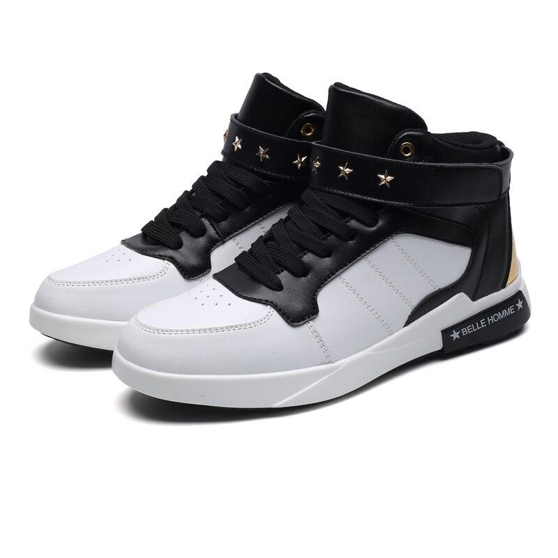 black Automne Top Taille Sneakers Printemps High Botas Up Hommes Chaussures Augmentation Zeeohh White Étoiles 45 rouge blanc Cheville Dentelle Respirant Grande 46 Noir De 2018 16wnqpPz