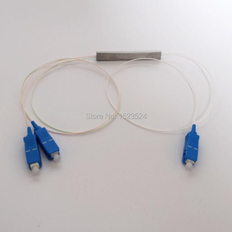 Free Shipping 10pcs/lot 0.9mm Steel Tube 1x2 Mini Blockless 1*2 SC/UPC 2 Way Fiber Optic PLC Splitter